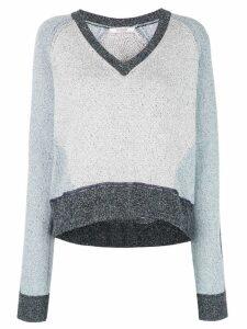 Derek Lam 10 Crosby Colorblock Marled Cotton V-Neck Sweater - Blue