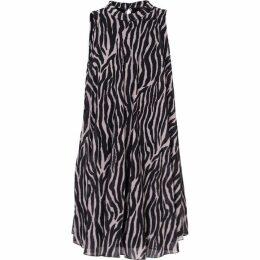 Carolina Cavour Animal Print Crinkle Dress