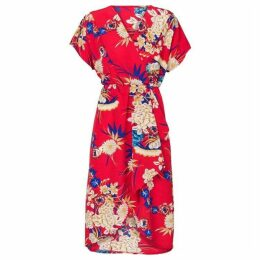 Carolina Cavour Flower Print V-Neck Dress