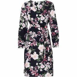 Carolina Cavour Flower Print Dress With Belt