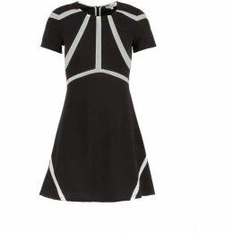 Morgan Fishnet Paneled Crepe Dress