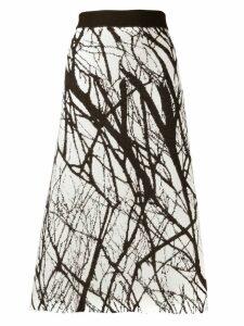 Erika Cavallini intarsia knitted midi skirt - White