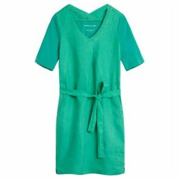 Sandwich Tie Belt Linen Dress