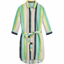 Sandwich Bolt Stripe Linen Shirt Dress