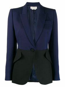 Alexander McQueen bicolour fitted blazer - Blue