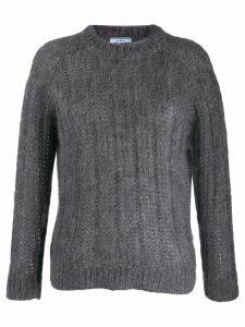 Prada crew neck chunky knitted jumper - Grey