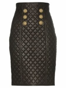 Balmain quilted leather high-rise skirt - Black