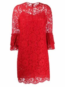 Valentino floral lace ruffle dress - Red