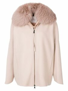 Moncler padded fur collar coat - Pink