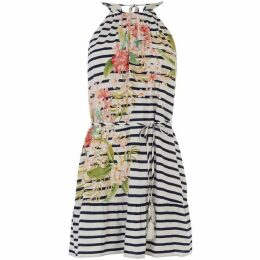 Oasis Stripe And Palm Halter Dress