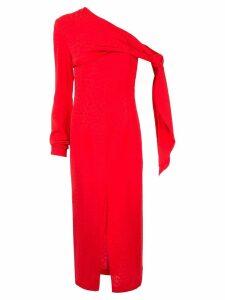 Matériel open shoulder fitted dress - Red