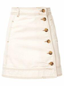Ganni side button skirt - White