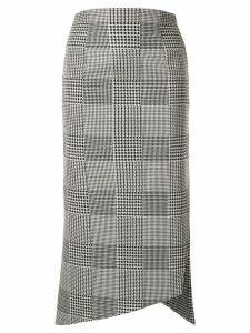 Silvia Tcherassi houndstooth asymmetric midi skirt - Grey