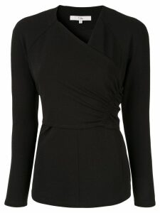 Tibi structured V-neck blouse - Black