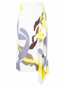 Tibi asymmetric printed skirt - White