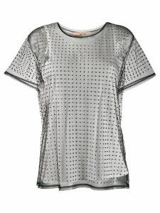 Nº21 studded sheer mesh top - Black