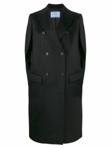 Prada cashmere double-breasted cape - Black