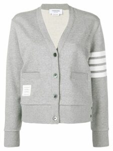 Thom Browne 4-Bar Engineered V-Neck Cardigan - Grey