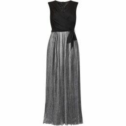 Mela Pleated Metallic Maxi Dress