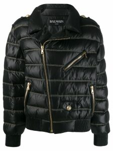 Balmain cropped quilted coat - Black