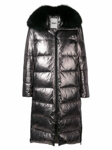 Yves Salomon Army oversized fur-trimmed coat - Metallic