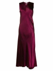 Ann Demeulemeester long satin dress - Red
