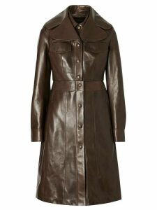 Burberry Lambskin Coat with Detachable Cropped Gilet - Brown