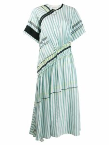 Cédric Charlier asymmetric striped dress - Blue