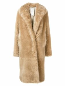 Stella McCartney faux-fur midi coat - NEUTRALS