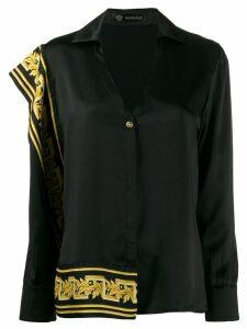 Versace Baroque detail asymmetric shirt - Black