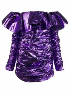 Attico off shoulder ruffle dress - Purple