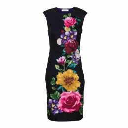 Carolina Cavour Flower Print Midi Dress