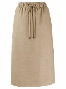 Peserico drawstring straight skirt - NEUTRALS