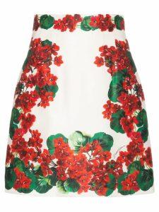 Dolce & Gabbana Geranium print A-line skirt - Red