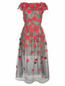 Oscar de la Renta floral appliqué tulle dress - Black