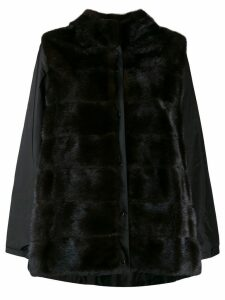 Simonetta Ravizza long sleeve hooded fur coat - Brown