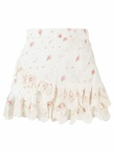 Love Shack Fancy Emma floral print skirt - White