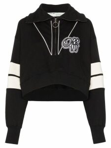 Off-White logo print cropped sweatshirt - Black