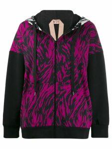 Nº21 animal stripe hoodie - Black
