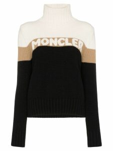 Moncler roll-neck logo intarsia sweater - Black