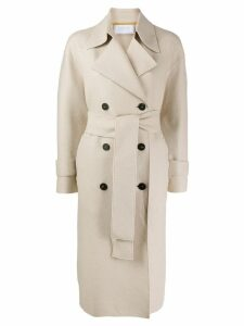 Harris Wharf London wrap belted coat - NEUTRALS