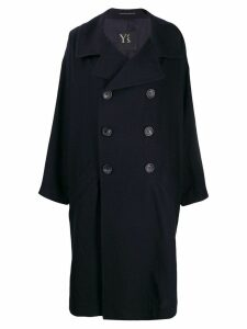 Y's double-breasted coat - Blue