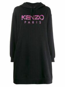 Kenzo logo embroidered hoodie dress - Black