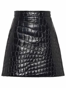 Miu Miu Ciré crocodile embossed effect skirt - Black
