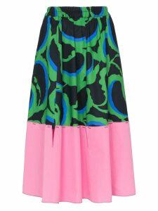 Marni contrast hem printed midi skirt - Green
