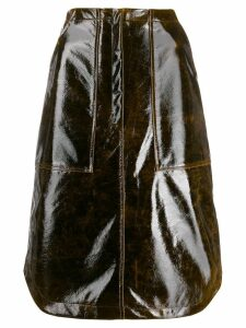 Erika Cavallini panelled patent skirt - Brown