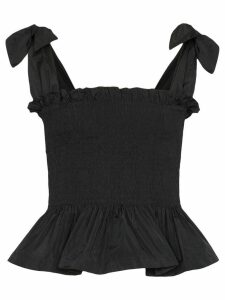 Molly Goddard Megan smocked peplum top - Black