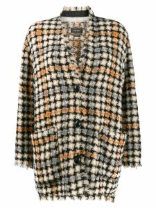 Isabel Marant oversized check print knitted coat - Neutrals