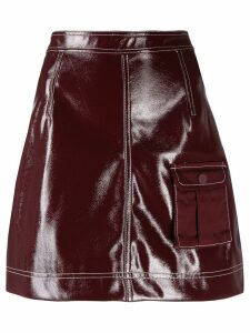 Ganni patent A-line skirt - PURPLE