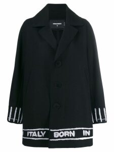Dsquared2 logo tape single breasted coat - Black